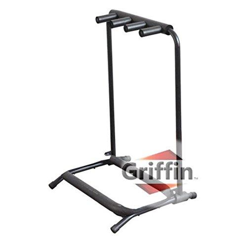 Three Guitar Rack Stand by Griffin | Holder for 3 Guitars & Folds Up | For Electric, Acoustic & Classical Guitar, Bass & Ukulele | Ideal For Music Bands, Recording Studios, Schools, Stage Performers