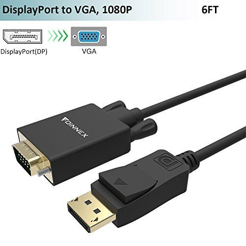 DP to VGA Cable(6Ft/1.8m, Gold Plated), FOINNEX DisplayPort to VGA Male to Male Adapter Cord, Supports Audio and Video Transmission @1080P 60Hz, for Lenovo, Dell, HP(DP Enabled Desktops/Laptops)