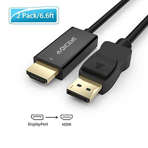 DP to HDMI Cable Transmit Audio and Video Signal 6.6ft for PC or Monitor 2 Pack - Black