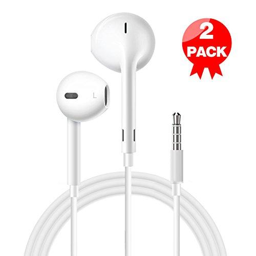 [2 Pack] Wire Headphones earbuds with Mic earphones and Remote Control for Apple iPhone/iPod/iPad/Samsung Galaxy (white)