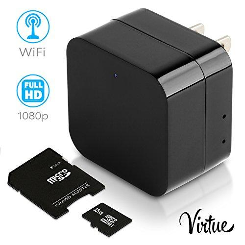 Mini Wi-Fi Hidden Camera-Wireless USB Camera Charger-Security Spy Camera Monitor System For Home 1080p-Motion Detection-Remote Viewing-Camera Kit with 32 Gb Micro SD Card by Virtue