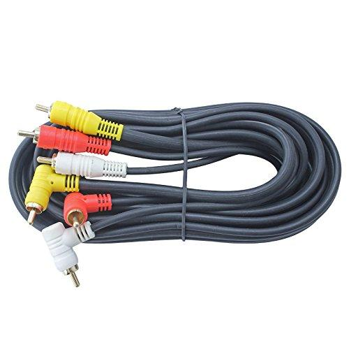 Triple RCA Stereo Audio and Video Cable - Right Angle to Straight 12 FT long