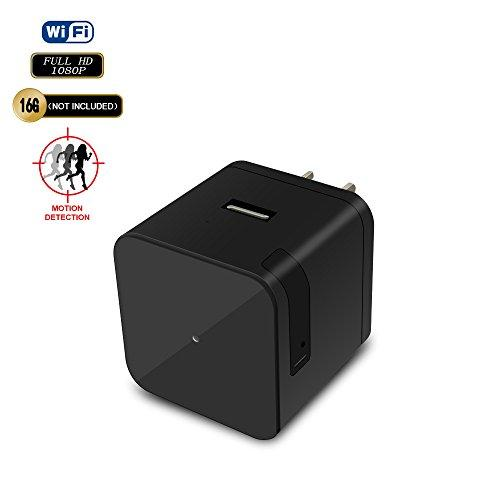 Hidden Camera Charger Wi-Fi 1080P FHD Internet Live Stream Mini Camera Recorder with Night Vision and Motion Detection USB Wall Charger Nanny Camera