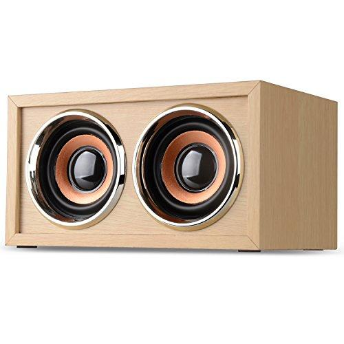 [New Arrival] DYJ Mini Wood Bluetooth 4.0 Speaker,10W Output Power with Two Passive Subwoofers and Enhanced Bass,Portable Wireless Speaker for , iPad, Samsung, HTC, Laptop(Beige 2)