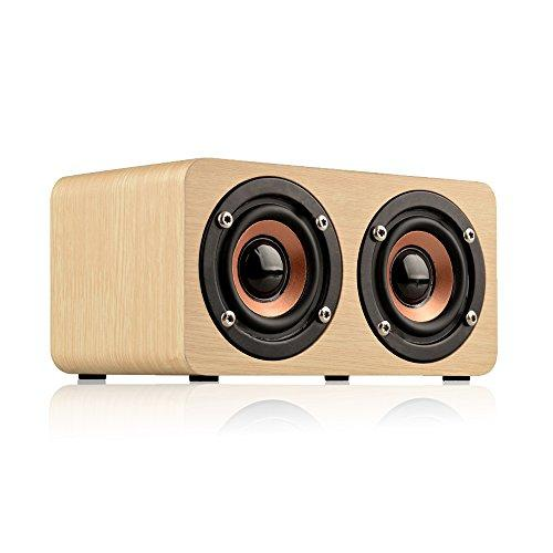 Sun Schnee Wireless Bluetooth Speaker Portable Bass Wood Speaker with two Subwoofers and Built-in Rechargeable Battery for Smartphones and Computers 5.9x3.3x3 Inches Yellow Wood