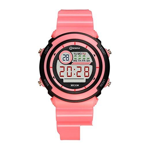 [child] Digital watches,Waterproof [lovely] Multifunction Digital watch Luminous Alarm clock Students watch Pin buckle strap-D