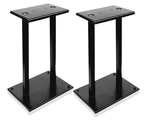 "13"" Quad Speaker Stands (Pair) - Universal Heavy Duty Steel Base Top Plates & Vertical Columns w/ Adjustable Spikes Perfect for Home Surround Sound System Bookshelf & Satellite Speakers - Pyle PSTND18"