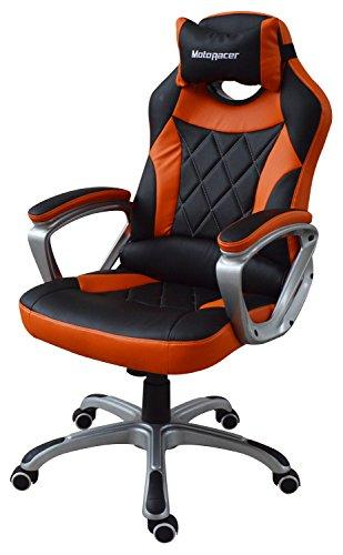 MotoRacer Gaming Chair PRO Edition | The Best Ergonomic Racing Chair For Video Games | Racing Style Gamer Chair | Padded Armrest | Maximum Comfort | Adjustable Height | PU Leather | 5 Colors (Orange)