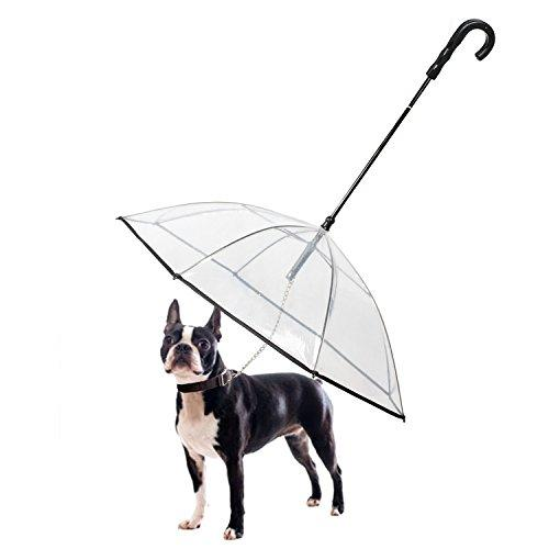 Transparent Pet Dog Umbrella With Leash Easy View Clear Transparent Folding Puppy Umbrella for Small Dogs Puppies 20 Inches Back Length Rain Snow Wet Weather