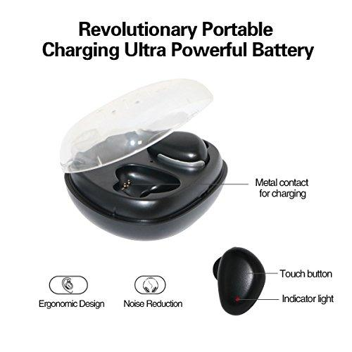 Wireless Headphones, Touch Control, True Wireless Earbuds with Charging Box, Sweatproof Wireless Earphones for iPhone iPad, Smartphones, 3 Hours Working Time Black Color