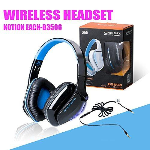 Zipom Wireless Headphones, KOTION EACH B3506 Bluetooth 4.1 Stereo Wireless Headset Over Ear Headphones, Foldable Built-in Mic for Bluetooth-enabled Smart Devices-Ergonomic Design+ In-line Aux Cable