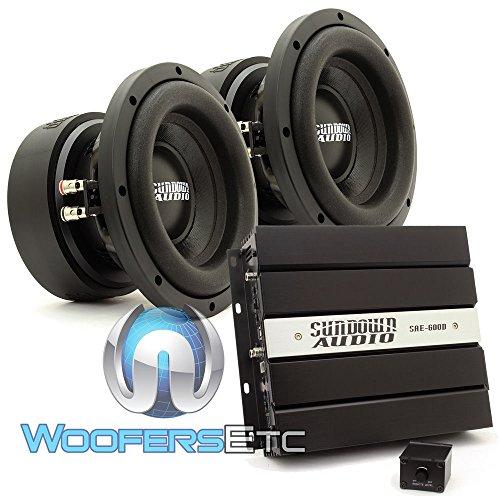 pkg Sundown Audio SAE-600D Monoblock 600 Watts RMS Digital Class D Amplifier + (2) Sundown Audio E-8 V.5 D4 8