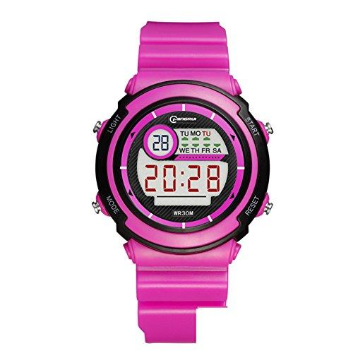 [child] Digital watches,Waterproof [lovely] Multifunction Digital watch Luminous Alarm clock Students watch Pin buckle strap-E