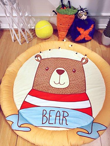 HugeHug Cartoon Soft Fenced Kids Play Mat Floor Area Rugs for Bed and Game Rooms, Reading Nook, Video Games or Watching TV, Thick Non-Toxic Softer Fluffy Round 60 inches for Babies(Obediently Bear)
