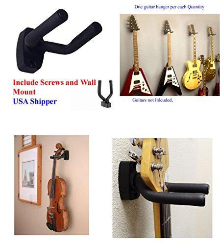 Top Stage Guitar Hanger Hook Holder Wall Mount Display, Fit most guitars, Set of 1 w/Mounting Hardware
