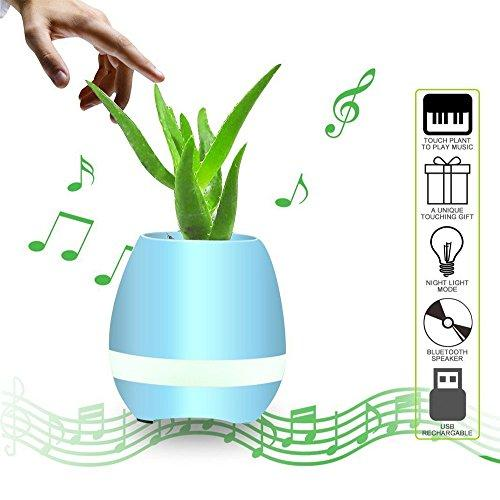 U.S Shipping Bluetooth Speakers, CieKen Smart Finger Touch Music Flower Pot Planter Home Office Deco Floorstanding Home Speakers Blue