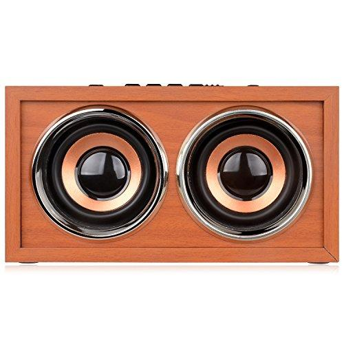 [New Arrival] DYJ Mini Wood Bluetooth 4.0 Speaker,10W Output Power with Two Passive Subwoofers and Enhanced Bass,Portable Wireless Speaker for , iPad, Samsung, HTC, Laptop(Brown)