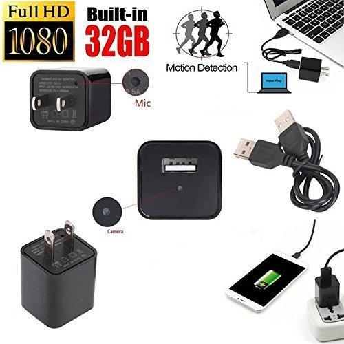 DENT Hidden Camera Charger 1080p 32GB Internal Memory Included Spy Nanny Camera featuring Motion Detection, Records up to 8 Hours of Movement Only Video