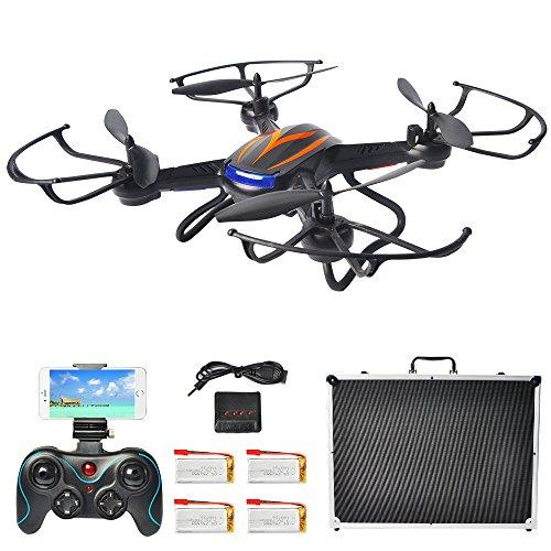 F181 FPV Drones for Beginners with Camera Live Video, Hover RC Quadcopter Kit with Portable Case, Bonus Batteries, RTF Helicopter with Altitude Hold, Headless Mode, One Key Return, Black