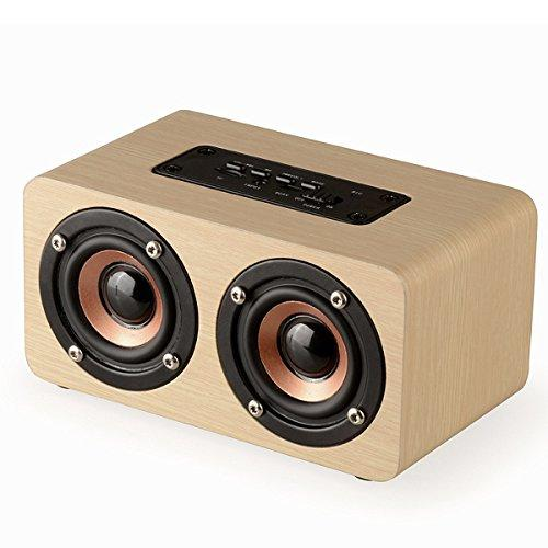 Portable Stereo Speaker, EIVOTOR 10W Wireless Home Speaker with Super Bass - Bamboo Wood HiFi Sound Box Subwoofers with Enhanced Bass Resonator Support TF Card Built-in Mic and Battery