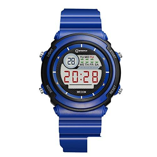 [child] Digital watches,Waterproof [lovely] Multifunction Digital watch Luminous Alarm clock Students watch Pin buckle strap-B