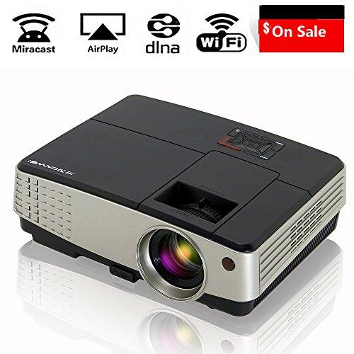 Portable Mini Projector Wireless WiFi 2600 Lumen, Android Home Theater Projectors Support 1080p Full HD HDMI USB AV VGA TV, Screen Mirroring with iPhone Smartphone PC Laptop by Airplay Miracast DLNA