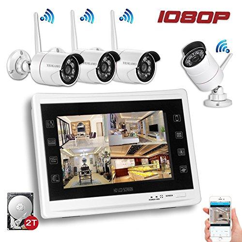 YESKAMO Wireless Security Camera System 1080P 12