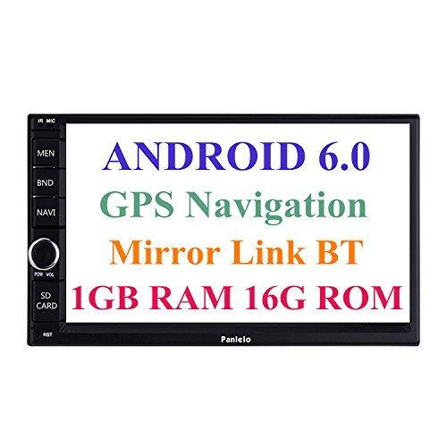 Panlelo Android 6.0 Double DIN Car Stereo Car GPS Navigation 7 inch Car Radio Head Units Touch Screen BT WIFI Mirror Link SWC Quad Core 1GB RAM 16GB ROM AM/FM/RDS