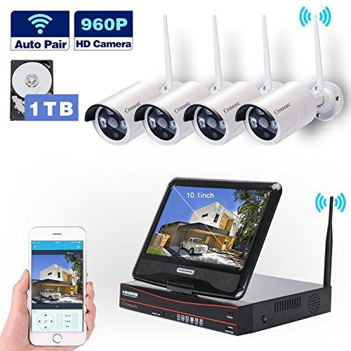 All in one with Monitor Wireless Security Camera System WIFI CCTV 4CH 1080P NVR Kit 4pcs 960P Indoor Outdoor Bullet IP Camera P2P IR Night Vision Waterproof Plug and Play with 1TB HDD