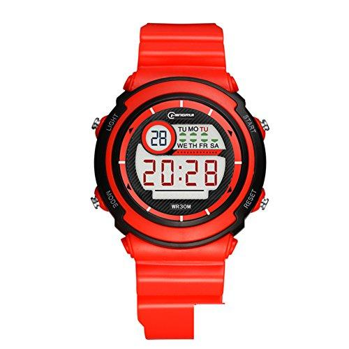 [child] Digital watches,Waterproof [lovely] Multifunction Digital watch Luminous Alarm clock Students watch Pin buckle strap-F