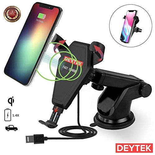 Wireless Car Charger Fast Charging, Car Mount Air Vent Desktop Cradle, for iPhone 8/8 Plus/X Samsung Galaxy Note 8/S8/S8+/S7/S7 Edge/S6/S6 Edge, any Qi-Enabled Device, Cell Phone Accessories by DEYTEK