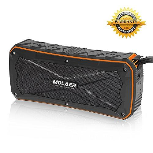 Portable Bluetooth Speakers MOLAER Outdoor IPX66 Waterproof Wireless Speaker 4.1 with USB Charging Port Dual-drive 16W Output and 2 Subwoofers 3D Stereo 12H Playtime Built-in Mic (Orange)