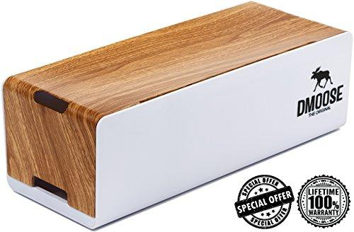 Cable Management Box Organizer by DMoose - Wooden Style - Hides Power Strips, Surge Protectors & Cords. Large Size for Entertainment Center, Home Office, Computers – Kids & Pet Friendly