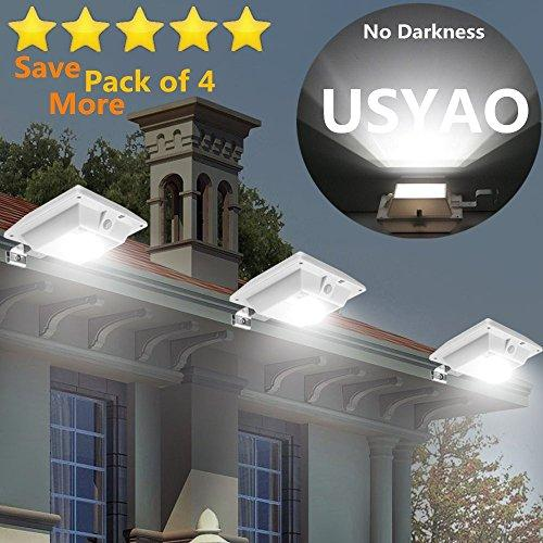 【Super Bright】 USYAO Solar Super Bright PIR Motion Sensor Waterproof Wireless Security Light Lamp For Outdoor Garden Wall Yard Deck Auto On / Off Dusk to Dawn Pack of 4