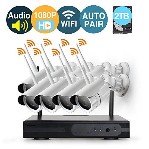 [Audio & Video] 8 Channel 1080p HD Wireless security Camera System with 2TB Hard Drive and 8 Infrared Outdoor 2.0Megapixel WiFi IP Cameras, Auto-Pair, NVR built-in Router,Remote access