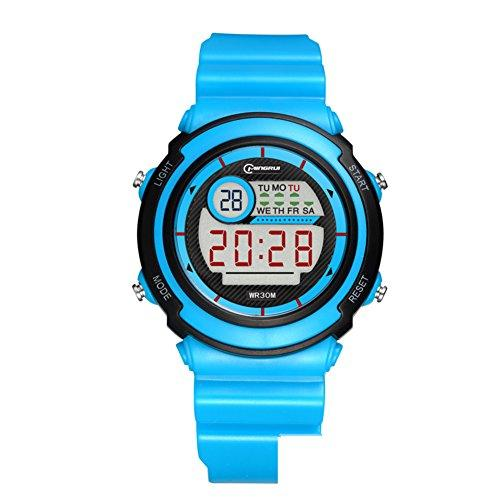 [child] Digital watches,Waterproof [lovely] Multifunction Digital watch Luminous Alarm clock Students watch Pin buckle strap-C