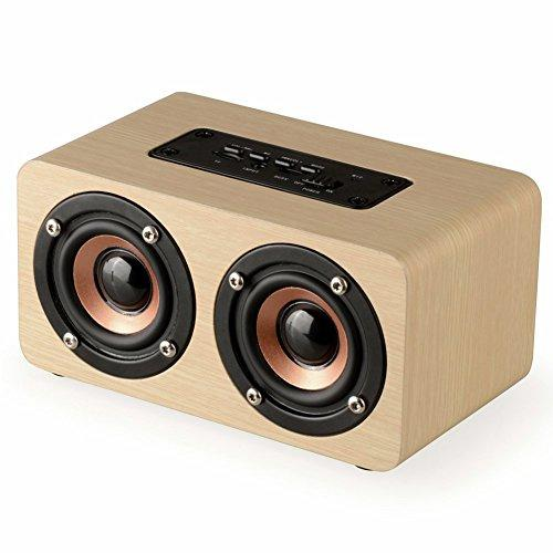 Wood Portable Bluetooth Speaker with HIFI Stereo Sound, WOPOW 2200mAh Handcrafted Retro Wireless Design with Dual Passive Subwoofers for Travel, Home, Beach, Outdoors (Light brown)