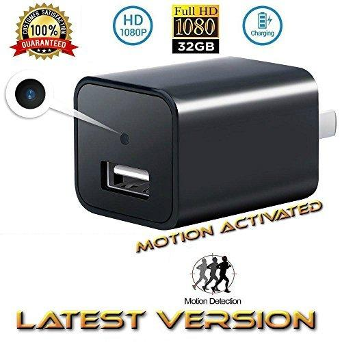 USB Phone Charger Camera -FULL HD 1080P Hidden Video Camera Charger Mini DVR Nanny Camera Video Recorder DVR Wall Adapter Charger Cam+32GB