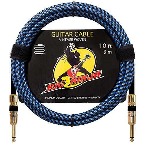 RIG NINJA INSTRUMENT CABLE for Serious Musicians, Quality Electric Guitar Cord for a Clean Awesome Tone to the Amp, Solid & Durable Cables that Look Great, Low Noise Cords for Guitars & Bass