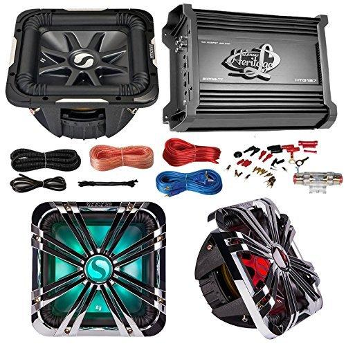 Car Subwoofer And Amp Combo: Kicker 11S12L74 12 Audio 4-Ohm Subwoofer Speaker + 12 Chrome Grill With LED Lighting + Lanzar 2000W Mono Block Stereo Amplifier + 8 Gauge Marine Amplifier Installation Kit