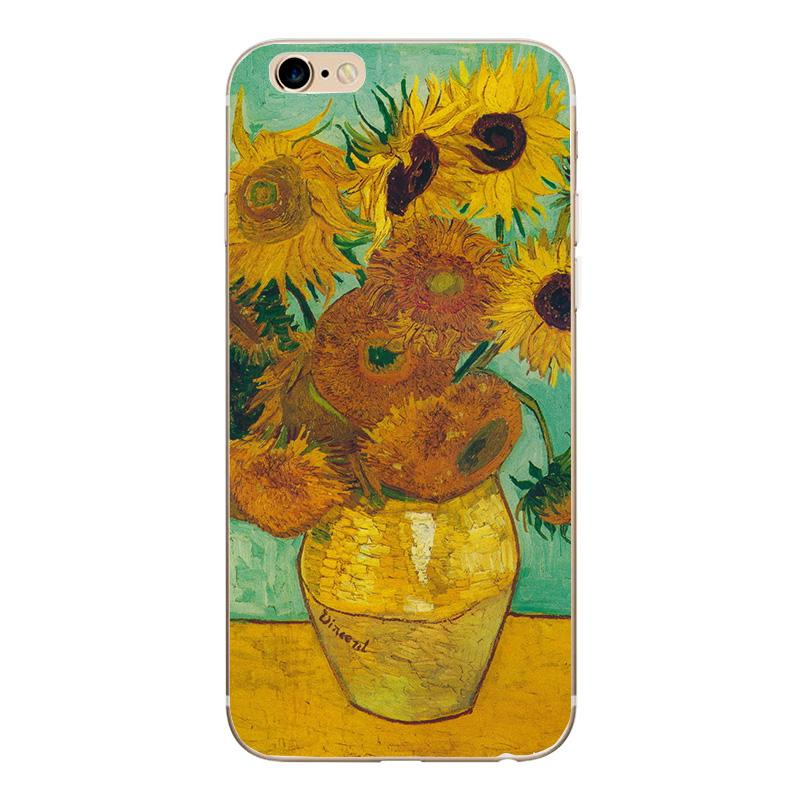 Phone Case for iphone 8 8 X 7 Plus Soft TPU Thin Silicone Van Gogh Starry Night Cover Case For Apple iphone 5 5S SE 6 6S 7 Coque