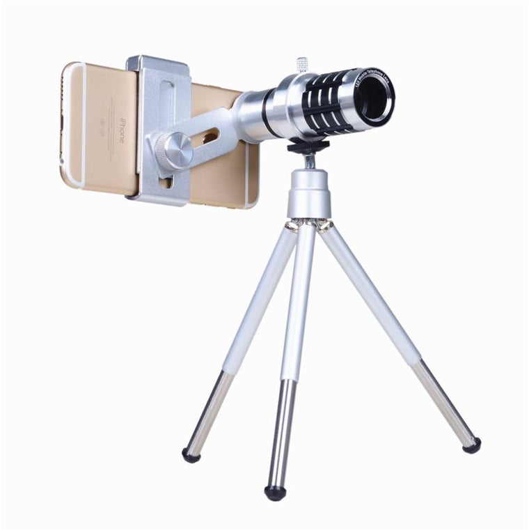 Universal Phone Lentes Kit 12x Telephoto Lens Zoom Telescope Camera Lenses For Cell Phone Samsung Huawei Meizu With Clips Tripod