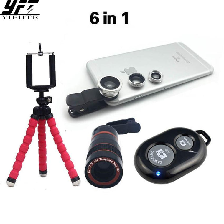 YIFUTE 8x Zoom Telephoto Camera Lenses Telescope Flexible Mini Tripod Phone 3in1 Lens with Bluetooth Shutter for iPhone samsung