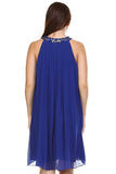 Women's Chiffon Gem Neckline Dress