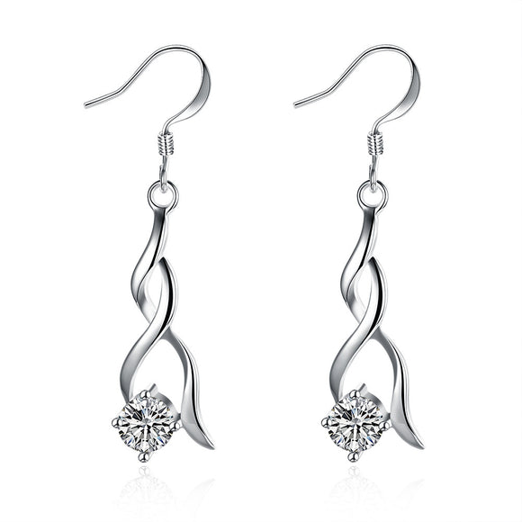 18K White Gold Plated Modern Spiral Drop Earring