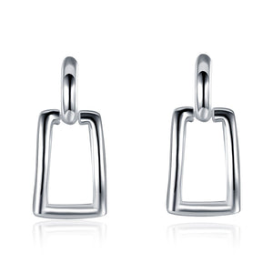 18K White Gold Plated Hollow Rectangle Earring