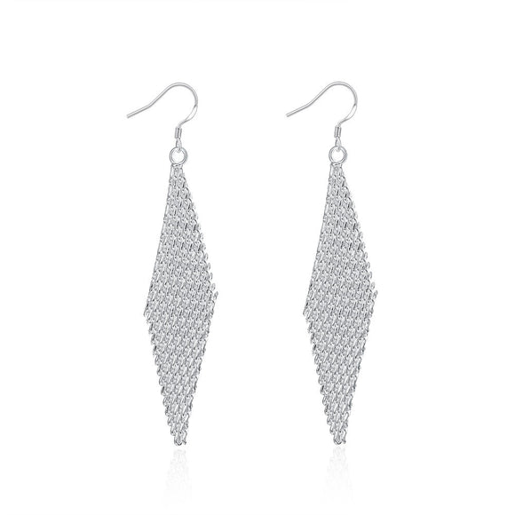 18K White Gold Plated Drop Triangular Earring
