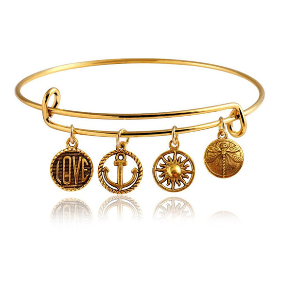 Gold Wanderlust Charm Bangle