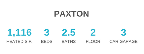 Paxton house plan has 1116 sq ft, 3 bedrooms, 2.5 bathrooms, 2 floors, and a 3 car garage