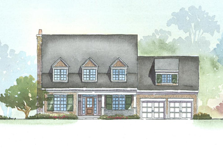 Front Rendering of Adams House Plan. This traditional style floor plan is 2862 sq ft, 3 bedrooms, 2.5 bathrooms, 1.5 floors, and a 2 car garage.